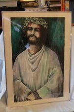 Large Vintage Painting of Jesus, Crown of Thorns framed and signed E. Wood '69