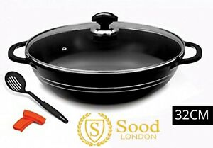 Sonex Marble Coating Die Cast Non Stick Handles Karahi With Glass Lid, 32cm