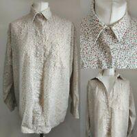 CELLOPHANE Women's Vintage Shirt Blouse Floral Print Ditsy Collar Blogger 14 16
