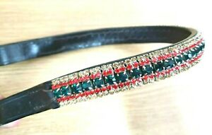 Quality Italian Leather 5 Row Green Red Gold crystal mega bling curve Browband