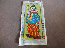 """Needlepoint Sampler Complete Ready to Frame 19 x 8 1/2"""" Finished Area CLOWN"""