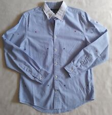 Tommy Hilfiger Button Down Shirt Embroidered H Custom Fit Mens M Medium Blue