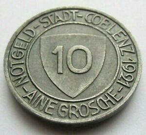 (339) NOTGELD COIN   10 PFENNIG  -  1921  -  CITY OF COBLENZ