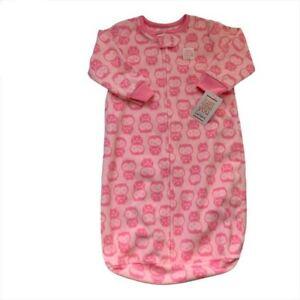 Carters Size 0 3 6 9 Months Sleep Sack Bag Fleece Full Zip Pink Owl New Warm