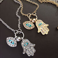 1Pcs Fatima Hamsa Hand Chain Blue Evil Eye Necklace Pendant For Parties =T qw