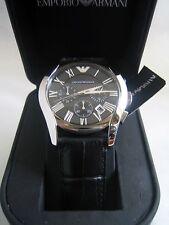 EMPORIO ARMANI Clásico de Cuero Negro Reloj de hombre AR1633 Cronógrafo BNWT