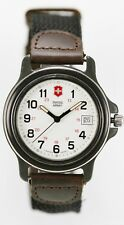 Swiss Army Watch Mens Stainless Leather Brown Black Nylon 50m Date 24hr Quartz