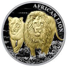 2016 Congo 5000 Francs 1 Oz Gilt Proof Silver African Lion in Mint Cap SKU38792