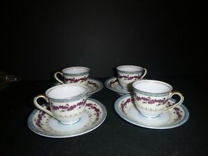 Set 4 Adline China Tea Cups & Saucers Acorn Hand Painted Made in Occupied Japan