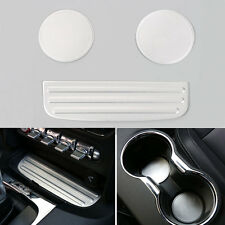For Mustang 2015-16 Aluminum Alloy Interior Water Cup Pad Holder Mat Trim Silver