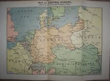 Map of Central Europe 1914 Showing the Principle Theatre of War