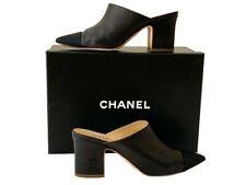 Chanel CC Cap -Toe CC Heel Leather Mules
