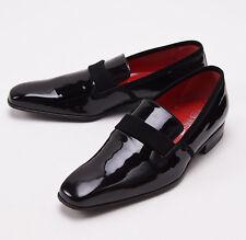 NIB $845 SUTOR MANTELLASSI Black Patent Leather Evening Shoes US 7 D Tuxedo