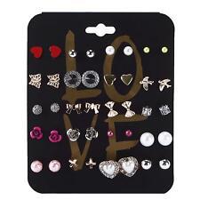 Pro 20 Pairs/Set Ear Stud Crystal Flower Love Heart Pearl Earrings Jewelry SY