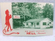 RPPC  Postcard US Post Office at Hell, Michigan At Ranch House Grill Cafe 1960's
