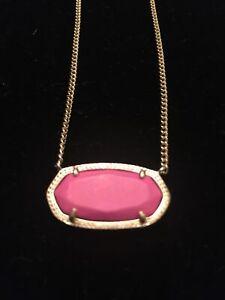 Kendra Scott Elisa Gold Pendant Necklace with pink pendant