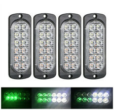 4x White Green 12LED Car Truck Emergency Warning Hazard Flash Strobe Light Bar