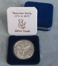 """UNC 2018 Silver Eagle in """"IT'S A BOY WELCOME BABY"""" Blue Gift Box 1oz Silver"""