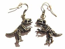 BRONZE DINOSAUR SKELETON EARRINGS charm pendant T-rex Tyrannosaurus Raptor H6