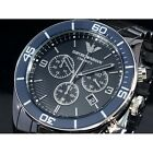 Emporio Armani AR1429 Ceramica Mens Chrono Luxury Sports Blue Bezel Watch NEW