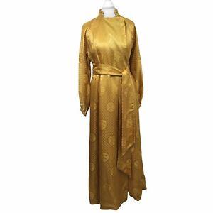 Vintage Silk Dressing Gown XS Hostess Robe Gold Jacquard Lined Satin Hong Kong