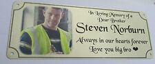photo memorial, rememberance bench plaque, weatherproof sublimated aluminium new