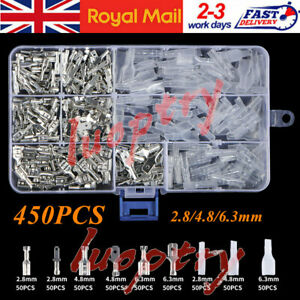 450pc Assorted Insulated Electrical Wire Terminal Crimp Connectors Spade Set Kit