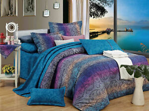 Mandala Tanya Quilt Cover Purple Blue Floral Doona Duvet Cover Set - All Size