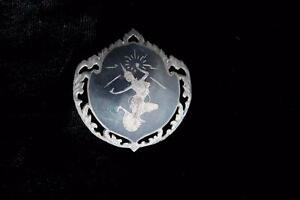 """RARE 1920'S-1930'S SILVER """"DANCER"""" ETCHED SIAM PINS 1 3/4 INCH WIDTH & LENGTH"""