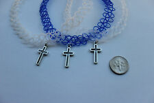 x3 stretchy tattoo chokers:blue,white,clear necklece + cross Tibet. silver charm