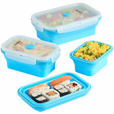 VonShef Silicone Collapsible Food Storage Container Folding Lunch Box Set of 4