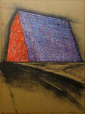 """CHRISTO Signed 1976 Color Lithograph/Silkscreen/Collage Ltd. Ed. """"Texas Mastaba"""""""