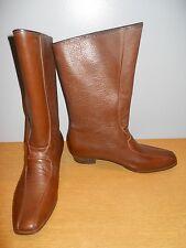 Vintage 60s Brown Rubber Waterproof Lined Boots Rockabilly Retro Boho Mod GoGo 6