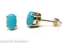 9ct Gold Turquoise Oval Stud Earrings, Boxed Made in UK