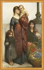 Flower Sellers of London Gustave Dore Mädchen Armut Kinder Mutter B A2 02176