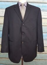 CHAPS 3 Button Size 46R Black Pinstriped 2 Piece Single Breasted Wool Mens Suit
