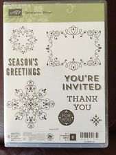 """LETTERPRESS WINTER"" Stampin'UP! NEW~CLEAR/CLING ~Tags, Sayings, Scrolls, set/8"