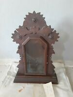 Antique Ingraham Oak/ walnut clock Case Mantel Kitchen Chime Gingerbread parlor