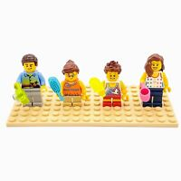 Lego Minifigs City People Brown Hair Family Set Lot of 4 with Accessories CF200