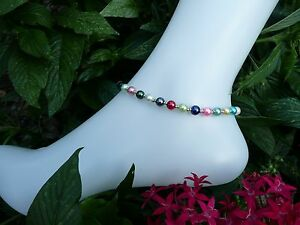 Mixed Charms Czech Glass Pearl Rondelle Bead Ankle Bracelet 9.5""