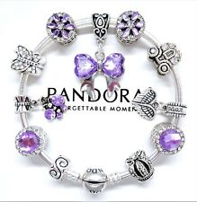 Authentic Pandora Silver Charm Bracelet Purple Love Heart Family European Charms
