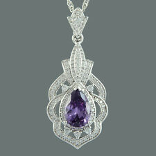 Brass CZ 18K White Gold Plated Purple Amethyst Pear Cut Pendant Necklace Chain