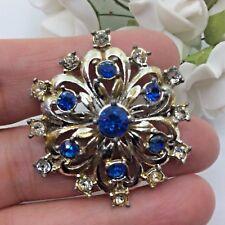 Joyas Vintage Topacio Azul & Tono Oro del rhinestone claro Flor Broche Pin