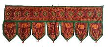 Maroon Indian embroidered toran door valances wall hanging Elephant Glass Decor