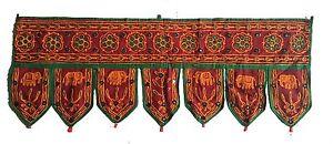 Maroon Indian embroidered toran door valances wall hanging Elephant Glass Decor