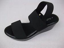 Bartolini Womens Shoes $50 Liona Black Stretch Fabric Sandal Wedge Italy 6