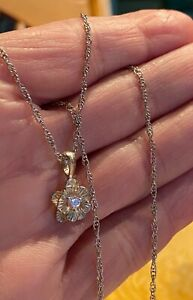 Sophia S Fiori Sterling Silver 925 Clear Crystal Center Flower Pendant Necklace
