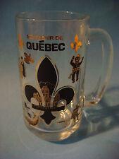 BEER Glass Mug Stein ~ Souvenir de QUEBEC, Canada ~ Fleur des Lis, Fishing, Bird