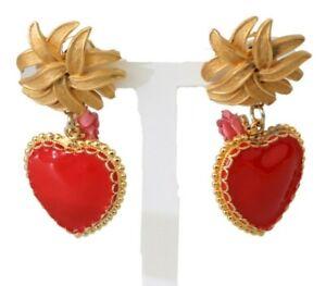 DOLCE & GABBANA Earrings Gold Brass Red Rose Heart Love Clip-on Dangle RRP $500