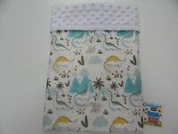 Baby Blanket Dinosaurs on White Bassinet Pram Crib 80cm x 60cm Minkee Dot Back